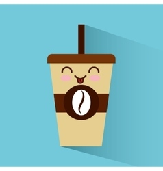 Coffee glass character icon vector