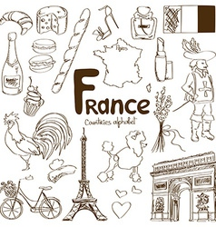 Collection of france icons vector