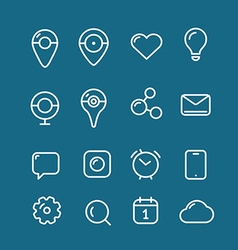 Different simple web pictograms collection Lineart vector image vector image