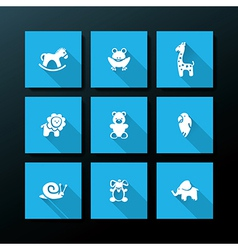 Flat baby toy icon set vector