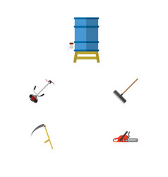 Flat icon dacha set of harrow cutter container vector