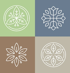 Floral icons and logos vector