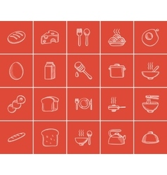 Food and drink sketch icon set vector
