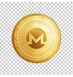 Golden monero blockchain coin symbol vector