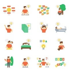 Ideas Icons Flat Set vector image vector image