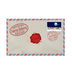 Letter from santa claus with stamps and postage vector