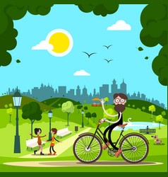 Man on bicycle in city park with people and dog vector