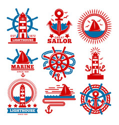 Marine and nautical logo templates or heraldic vector