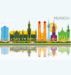 Munich germany skyline with color buildings blue vector
