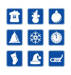 Ny icon set blue 2 vector