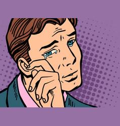 pop art man wipes tears vector image vector image