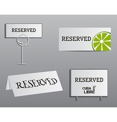 Reservation sign mock up template summer cocktail vector