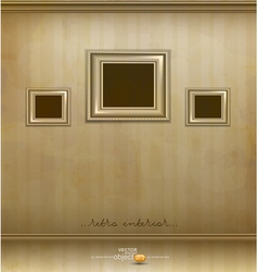 retro room with three frames vector image
