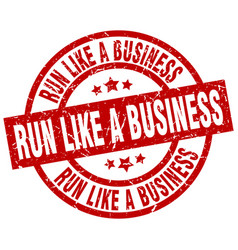 run like a business round red grunge stamp vector image vector image