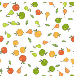 seamless pattern with apples pears and leaves vector image