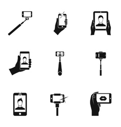 Shooting on cell phone icons set simple style vector