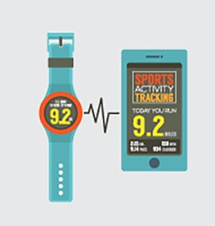 Sport watch with smartphone activity tracking vector