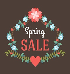 Spring sale poster with label and flowers vector image