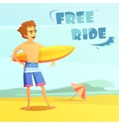 Surfing Retro Cartoon vector image