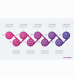 timeline infographic design with ellipses 9 steps vector image vector image