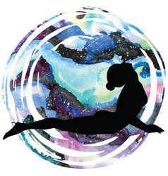 Women silhouette upward facing dog yoga pose vector