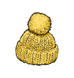 Bright yellow winter knitted hat with pompon vector