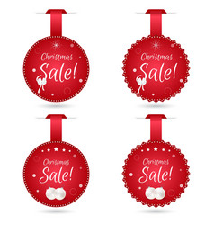 Set of four round festive christmas coupon tags vector