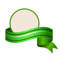 Empty round template wuth relistic green banner vector