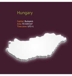 3d map of hungary vector