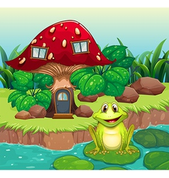 A frog above a waterlily in front of a mushroom vector