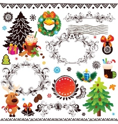 Christmas and new year decoration set vector