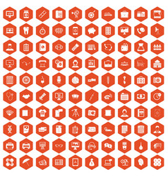 100 department icons hexagon orange vector