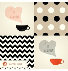 Set of card for valentine day with cups and patter vector