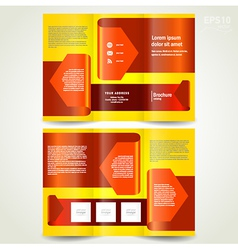 Brochure design template leaflet red arrow ribbon vector