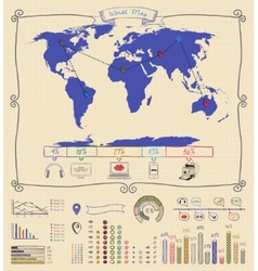 Pen drawing warld map infographics vector