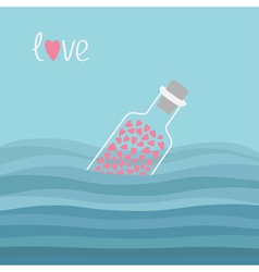 Wine bottle with hearts inside in the ocean sea vector