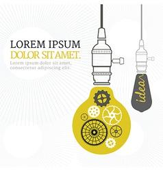 Vintage bulb concept idea white background vector