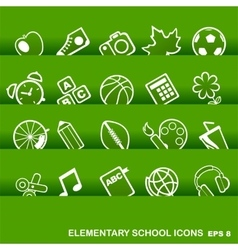 Education icons basics elementary school vector