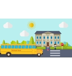 Kids go back to school bus children and school vector