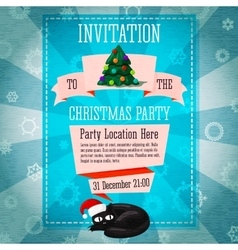 Merry christmas cute retro party invitation or vector