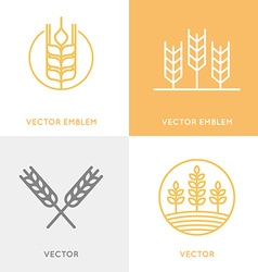 set of logo design templates in trendy linear vector image