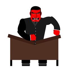 Big boss broke a table red businessman as loud in vector