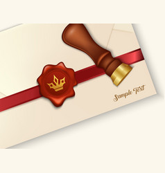 Envelope and red wax seal with wax seal stamp vector