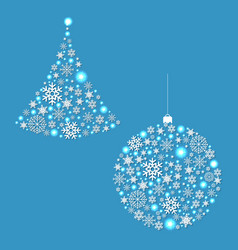 Fir tree and xmas ball vector