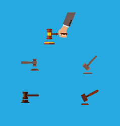 Flat icon hammer set of legal justice crime and vector