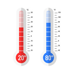 Flat style celsius and fahrenheit thermometers vector