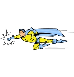 Flying superhero throwing a punch vector image