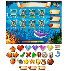 Game template with underwater scene vector image vector image