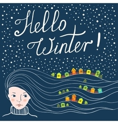 Greeting card hello winter vector