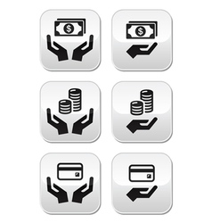 Hands with money buttons set vector image